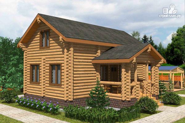 Фото: проект полутораэтажный бревенчатый дом с террасой