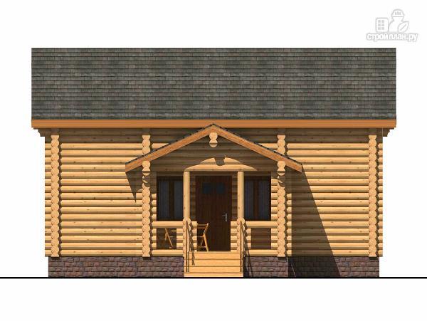 Фото 2: проект полутораэтажный бревенчатый дом с террасой