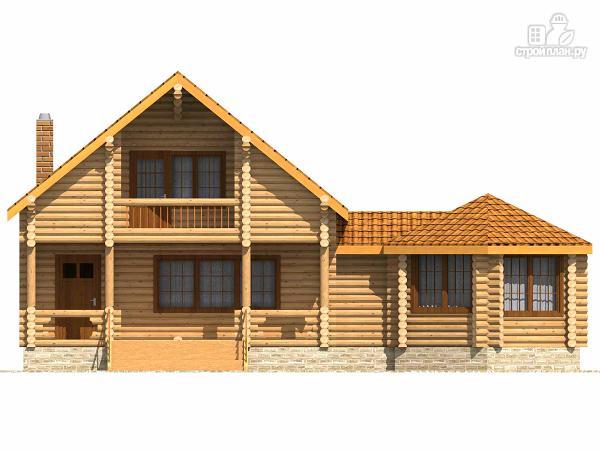 Фото 2: проект деревянный дом с парной и большой верандой