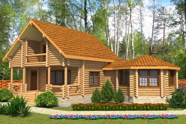 Фото: проект деревянный дом с парной и большой верандой