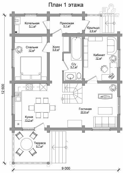 Фото 6: проект бревенчатый дом на четыре спальни с кабинетом и гардеробной