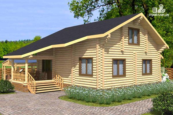 Фото: проект бревенчатый дом на четыре спальни с кабинетом и гардеробной