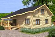 Проект бревенчатый дом на четыре спальни с кабинетом и гардеробной