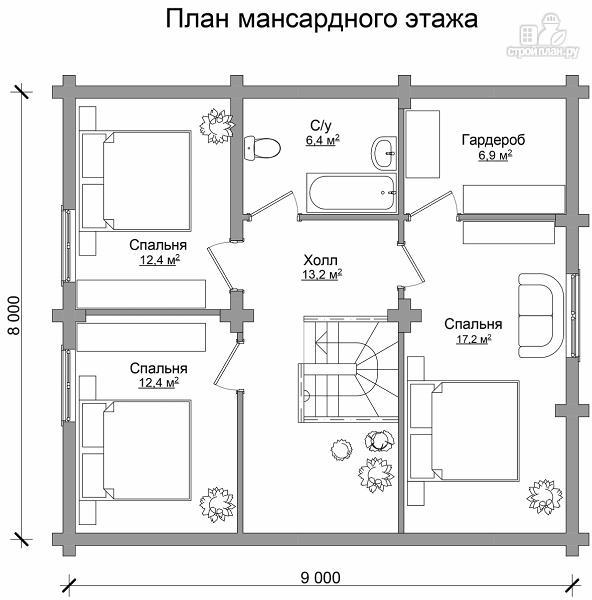 Фото 7: проект бревенчатый дом на четыре спальни с кабинетом и гардеробной