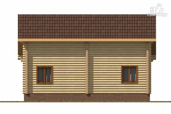 Фото 4: проект бревенчатый дом с широкой террасой и тремя спальнями на мансардном этаже