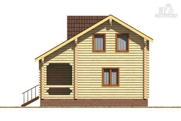 Фото 3: проект бревенчатый дом с широкой террасой и тремя спальнями на мансардном этаже