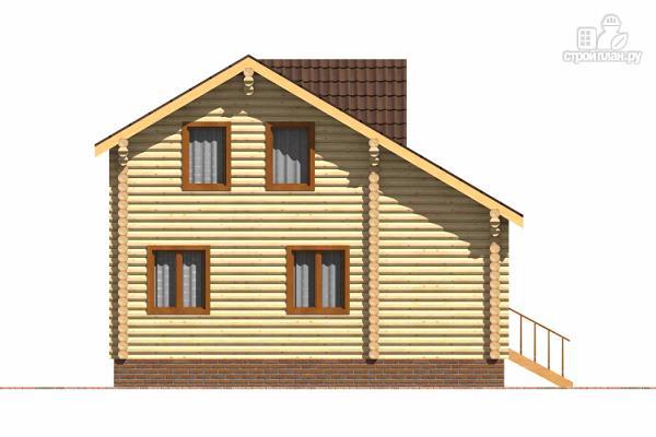 Фото 5: проект бревенчатый дом с широкой террасой и тремя спальнями на мансардном этаже