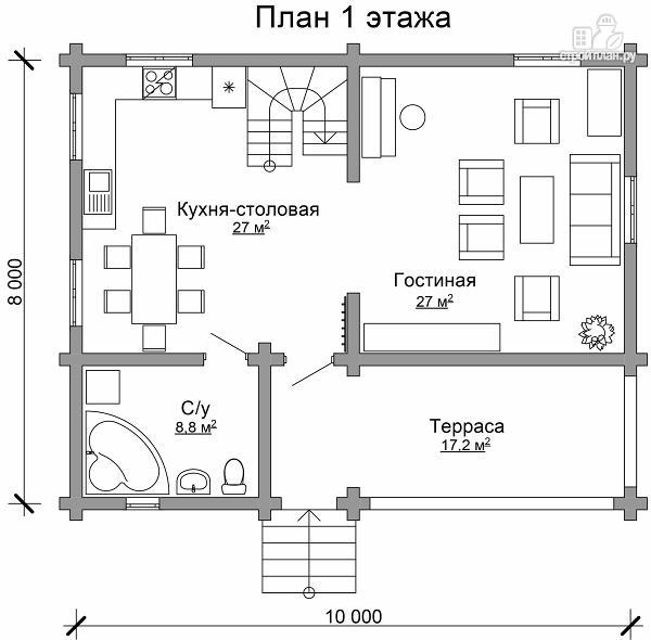 Фото 6: проект бревенчатый дом с широкой террасой и тремя спальнями на мансардном этаже