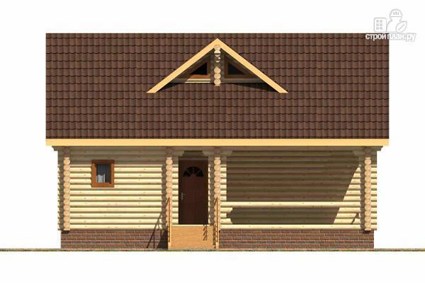 Фото 2: проект бревенчатый дом с широкой террасой и тремя спальнями на мансардном этаже