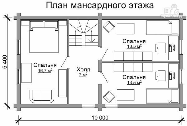 Фото 7: проект бревенчатый дом с широкой террасой и тремя спальнями на мансардном этаже
