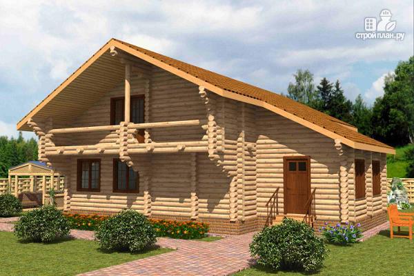 Фото: проект большой деревянный загородный дом с  просторной гостиной