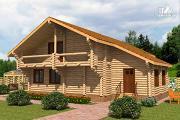 Проект большой деревянный загородный дом с  просторной гостиной