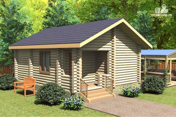 Фото: проект баня из дерева с большой комнатой отдыха и террасой