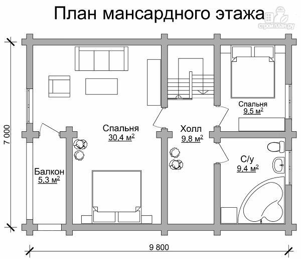 Фото 7: проект двухэтажный дом из сруба с тремя спальнями, парной и котельной