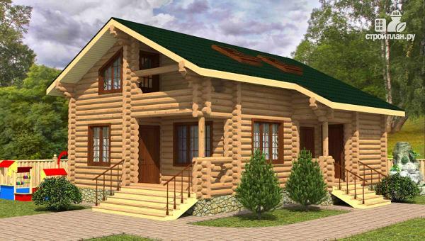 Фото: проект двухэтажный дом из сруба с тремя спальнями, парной и котельной