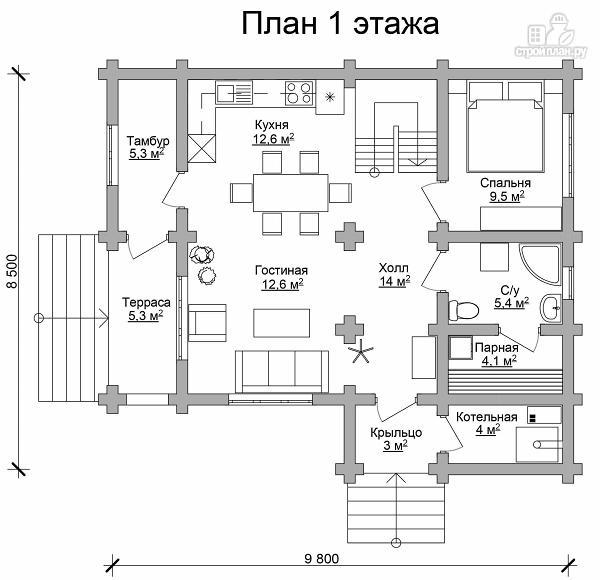 Фото 6: проект двухэтажный дом из сруба с тремя спальнями, парной и котельной