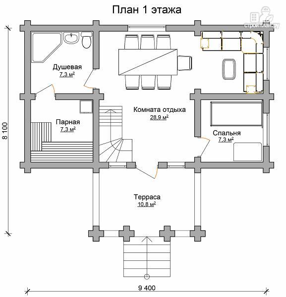 Фото 6: проект бревенчатый двухэтажный дом-баня с тремя спальнями