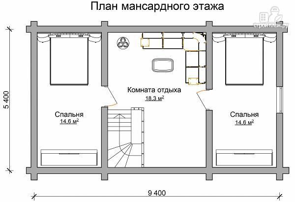 Фото 7: проект бревенчатый двухэтажный дом-баня с тремя спальнями