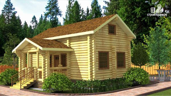 Фото: проект бревенчатый двухэтажный дом-баня с тремя спальнями
