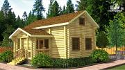 Фото: бревенчатый двухэтажный дом-баня с тремя спальнями