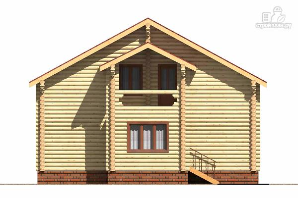 Фото 2: проект деревянный дом с тамбуром, балконом и четырьмя спальнями