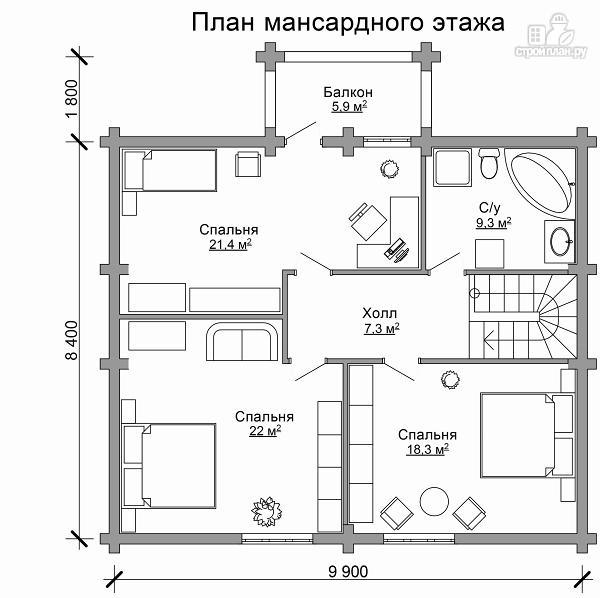 Фото 7: проект деревянный дом с тамбуром, балконом и четырьмя спальнями