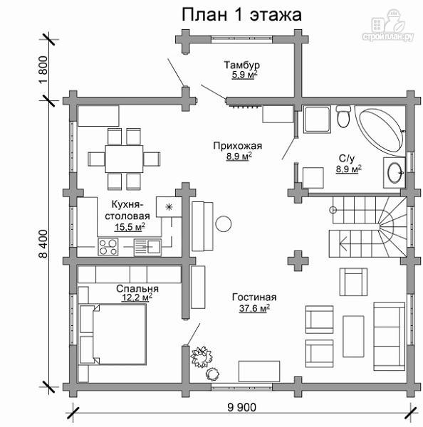 Фото 6: проект деревянный дом с тамбуром, балконом и четырьмя спальнями