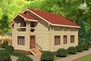 Проект деревянный дом с тамбуром, балконом и четырьмя спальнями
