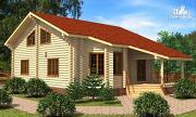 Проект дом из цилиндрического бревна с эркером и холлом «второй свет»