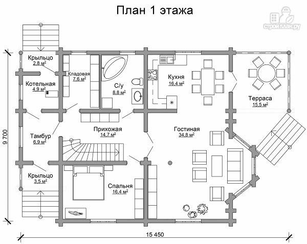 Фото 6: проект дом из цилиндрического бревна с эркером и холлом «второй свет»