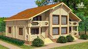 Проект двухэтажный бревенчатый дом на пять спален с холлом «второй свет»