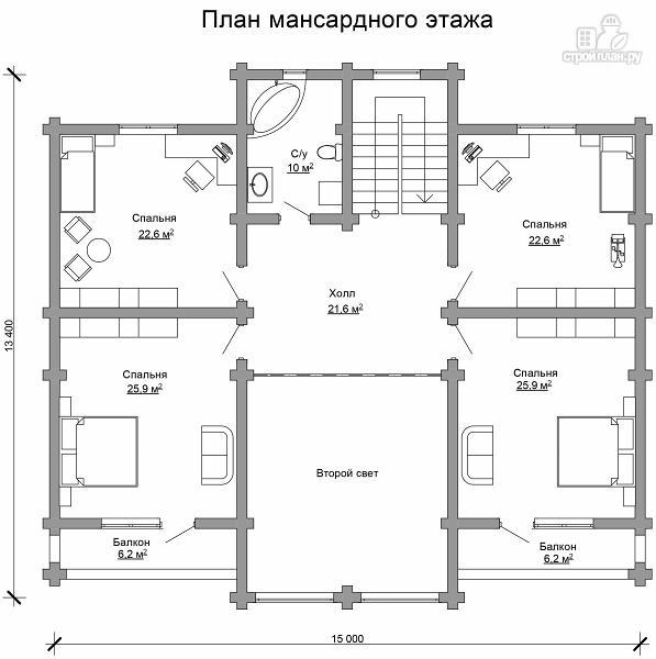 Фото 7: проект двухэтажный бревенчатый дом на пять спален с холлом «второй свет»