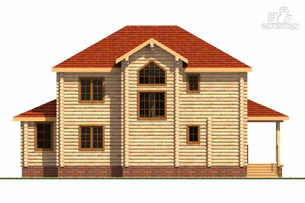 Фото 4: проект двухэтажный дом из цилиндрического бревна с эркероми террасой