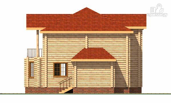 Фото 3: проект двухэтажный дом из цилиндрического бревна с эркероми террасой