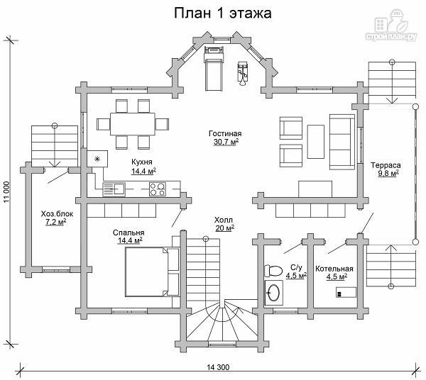Фото 6: проект двухэтажный дом из цилиндрического бревна с эркероми террасой