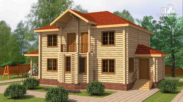 Фото: проект двухэтажный дом из цилиндрического бревна с эркероми террасой