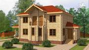 Фото: двухэтажный дом из цилиндрического бревна с эркероми террасой