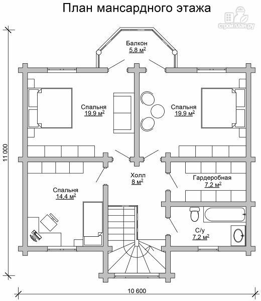 Фото 7: проект двухэтажный дом из цилиндрического бревна с эркероми террасой