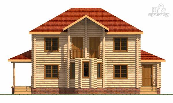 Фото 2: проект двухэтажный дом из цилиндрического бревна с эркероми террасой