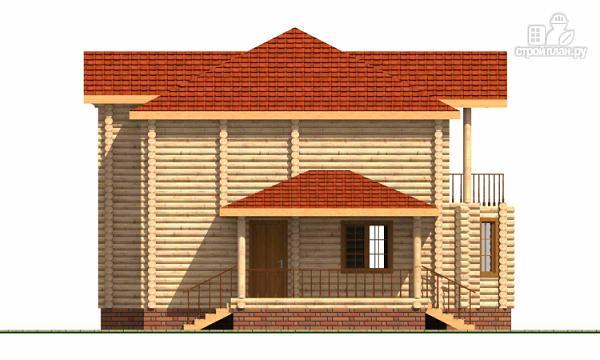 Фото 5: проект двухэтажный дом из цилиндрического бревна с эркероми террасой