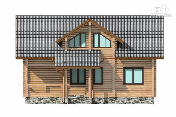 Фото 4: проект полутораэтажный бревенчатый дом с кабинетом, двумя спальнями и террасой
