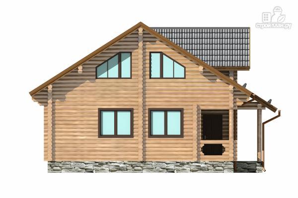 Фото 2: проект полутораэтажный бревенчатый дом с кабинетом, двумя спальнями и террасой