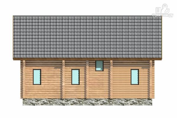 Фото 5: проект полутораэтажный бревенчатый дом с кабинетом, двумя спальнями и террасой
