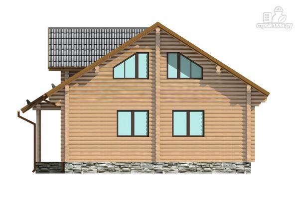 Фото 3: проект полутораэтажный бревенчатый дом с кабинетом, двумя спальнями и террасой