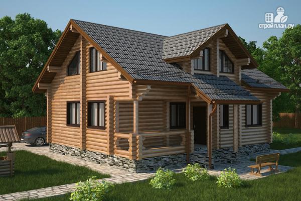 Фото: проект полутораэтажный бревенчатый дом с кабинетом, двумя спальнями и террасой