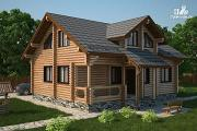 Проект полутораэтажный бревенчатый дом с кабинетом, двумя спальнями и террасой