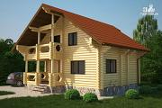 Проект полутораэтажный деревянный дом на три спальни