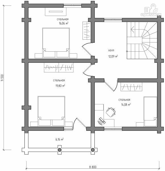 Фото 7: проект полутораэтажный деревянный дом на три спальни