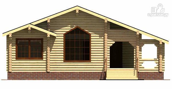 Фото 2: проект одноэтажный бревенчатый дом с большой террасой и тремя спальнями