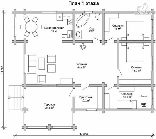 Фото 6: проект одноэтажный бревенчатый дом с большой террасой и тремя спальнями